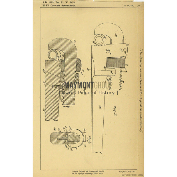 Pipe Wrench | 1889 | Patent No. 2149-United States Patent Office-Maymont Patent Group