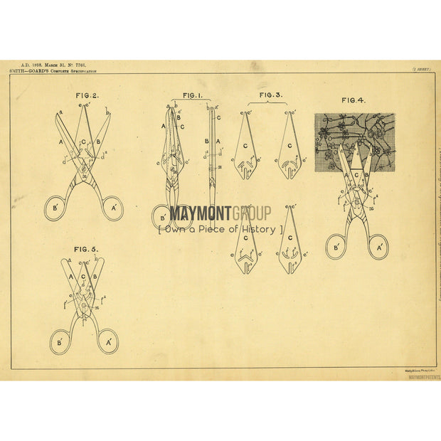 Scissors | 1898 | Patent No. 7766-United States Patent Office-Maymont Patent Group
