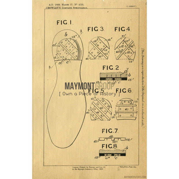 Shoes | 1888 | Patent No. 4131-United States Patent Office-Maymont Patent Group