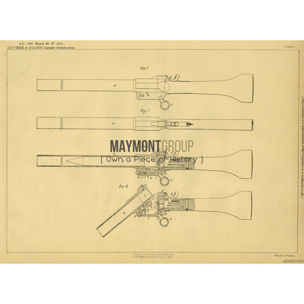 Signal Rocket Launcher | 1888 | Patent No. 4744-United States Patent Office-Maymont Patent Group