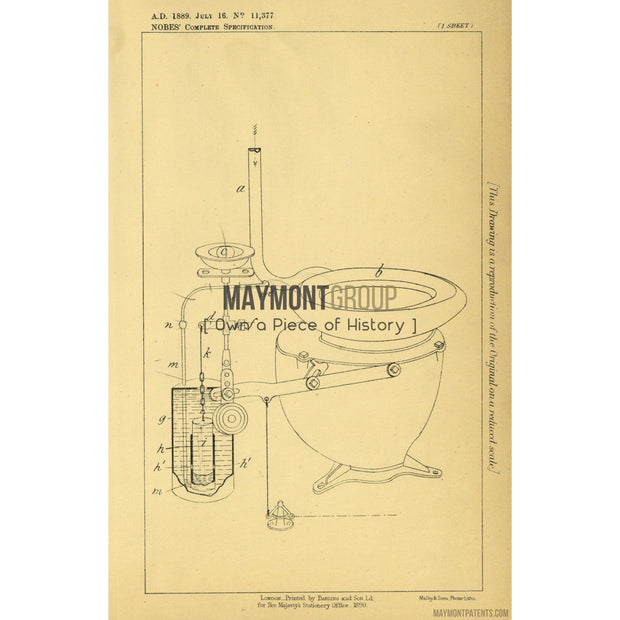 Toilet | 1889 | Patent No. 11377-United States Patent Office-Maymont Patent Group