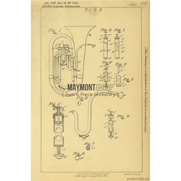 Tuba | 1888 | Patent No. 7173-United States Patent Office-Maymont Patent Group