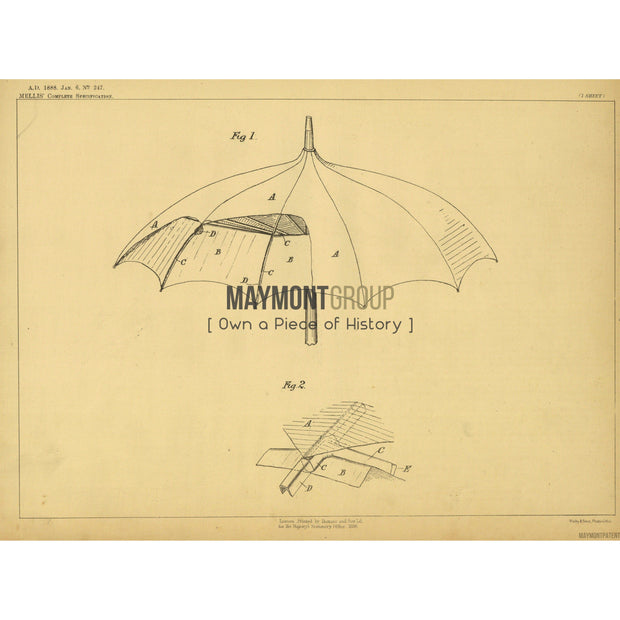 Umbrella | 1888 | Patent No. 247-United States Patent Office-Maymont Patent Group