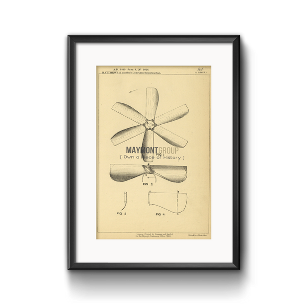Ventilating Fan | 1889 | Patent No. 9526-United States Patent Office-Maymont Patent Group