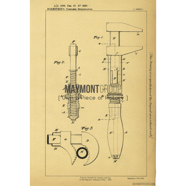 Wrench | 1889 | Patent No. 2927-United States Patent Office-Maymont Patent Group