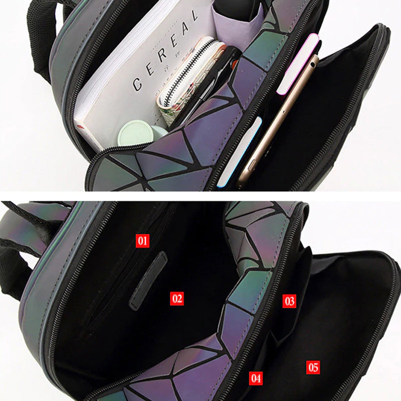 Geometric Luminous Backpack Interior