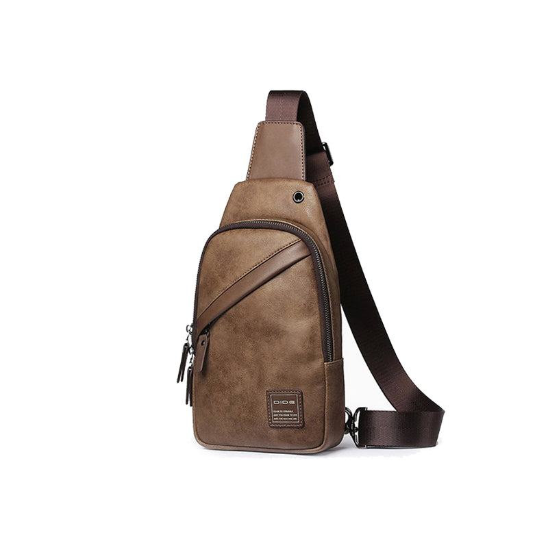 Sleek Genuine Leather Men's Crossbody Bag