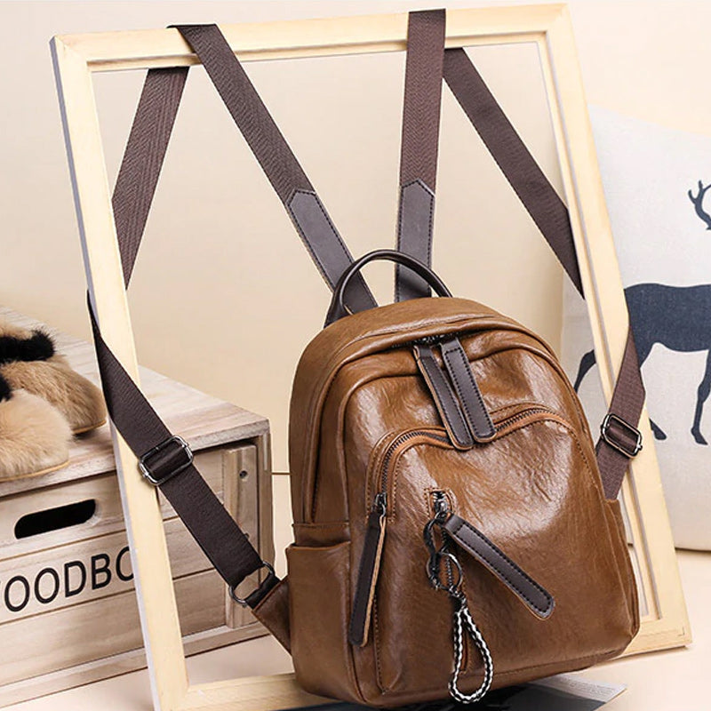 Women's Brown Mini Leather Backpack