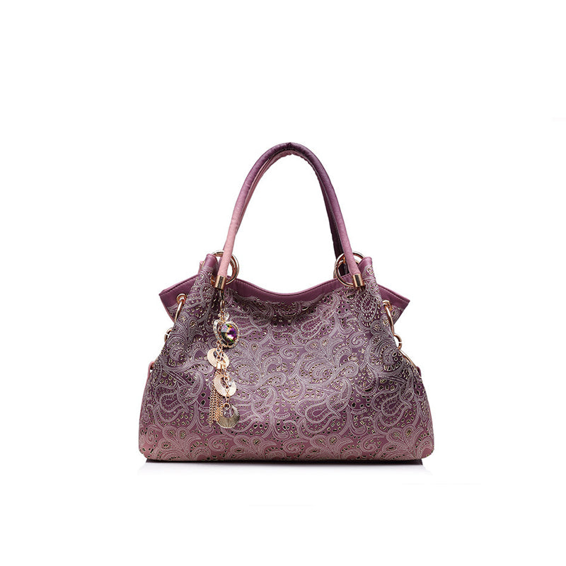 Chic Ombre Floral Shoulder Handbag
