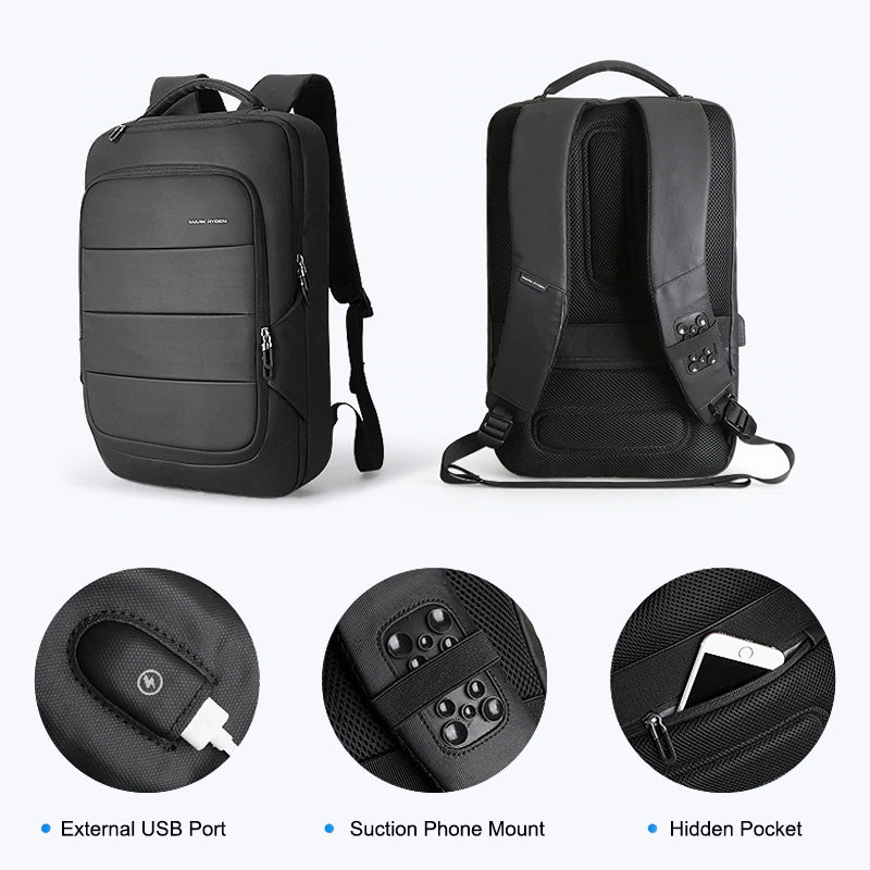 Black Travel Laptop Backpack Features