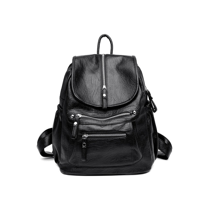 Women's Trendy Vintage Casual Travel Leather Backpack