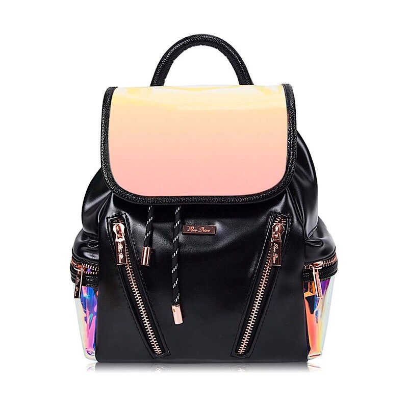 Stylish Reflective Women's Casual Mini Vegan Leather Backpack