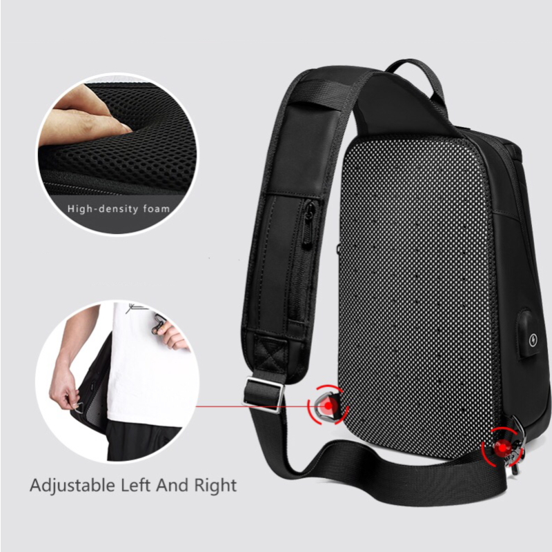 Large Capacity Multi-Functional External USB Crossbody Sling Bag