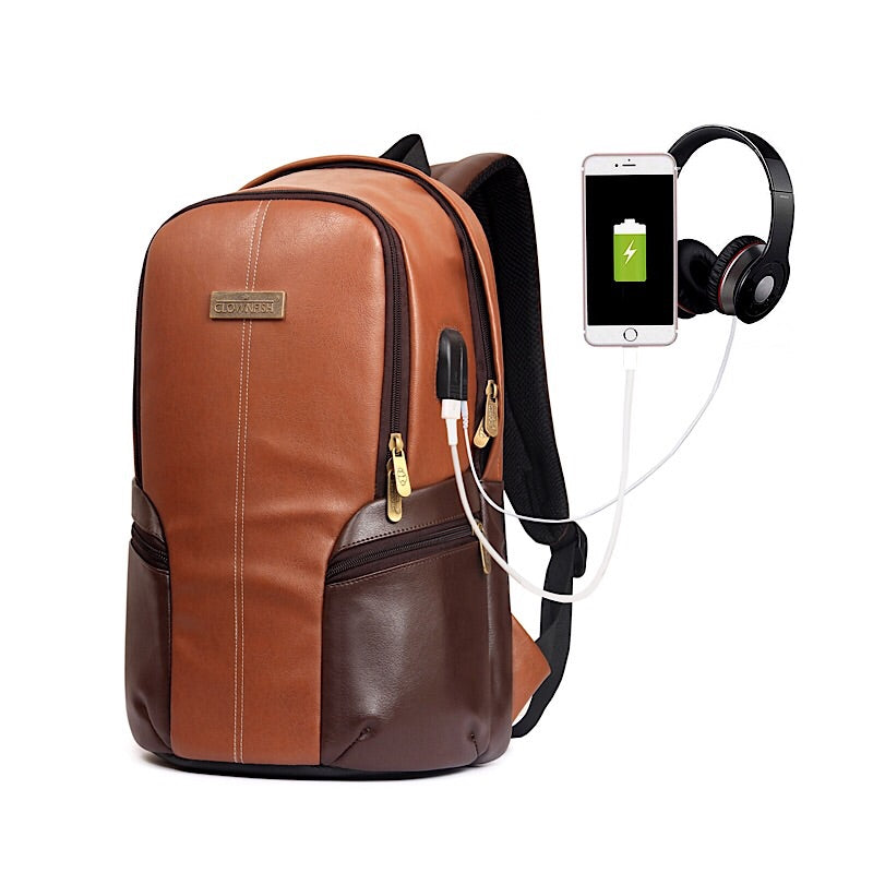 Stylish Designer Vegan Leather Laptop Travel Business External USB Backpack