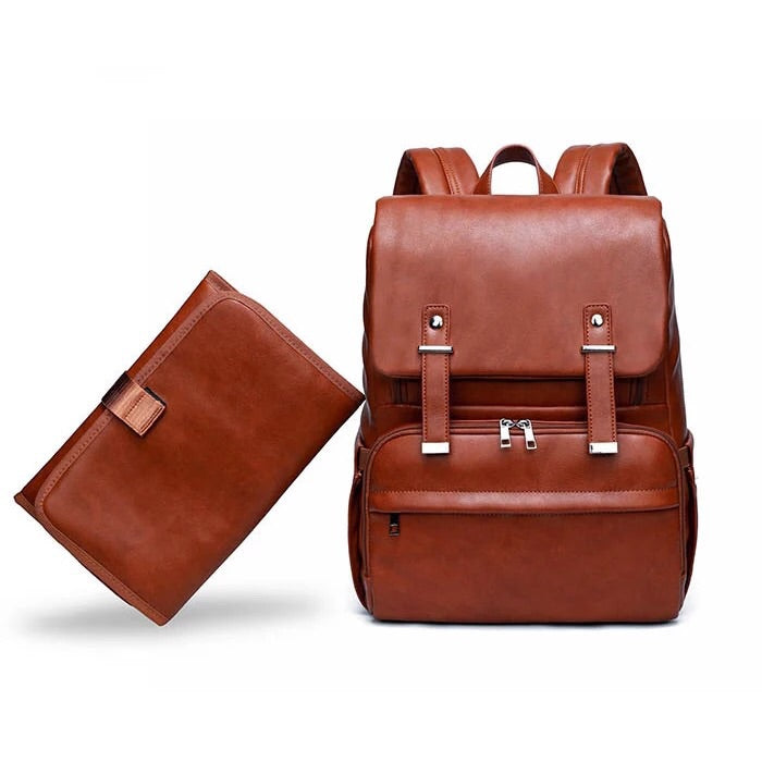 Trendy Vegan PU Leather Diaper Bag Backpack for Moms & Dads