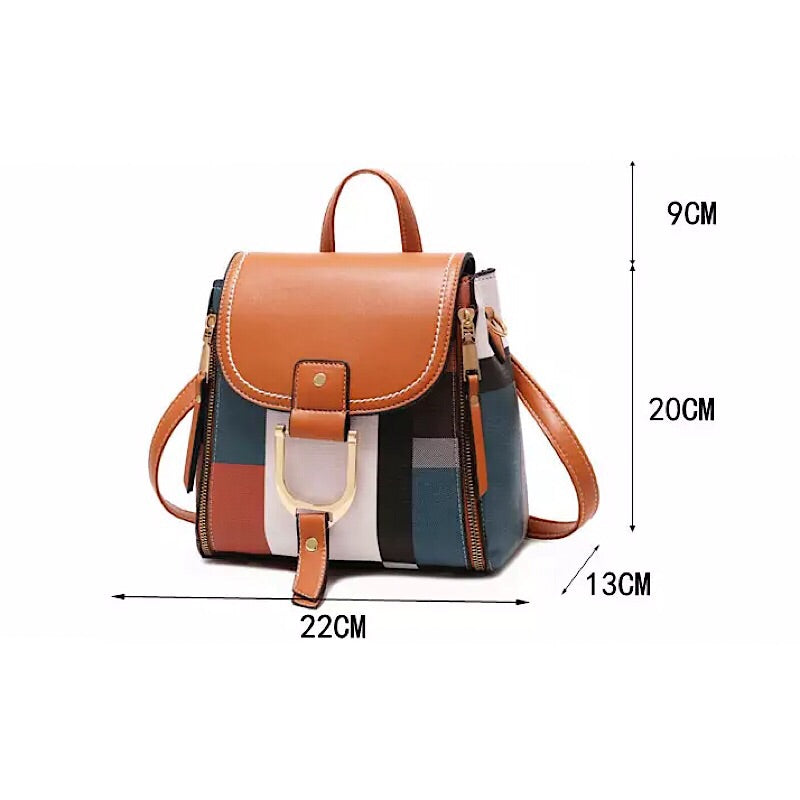 Multi-Colored Plaid Women's Mini Leather Backpack Purse