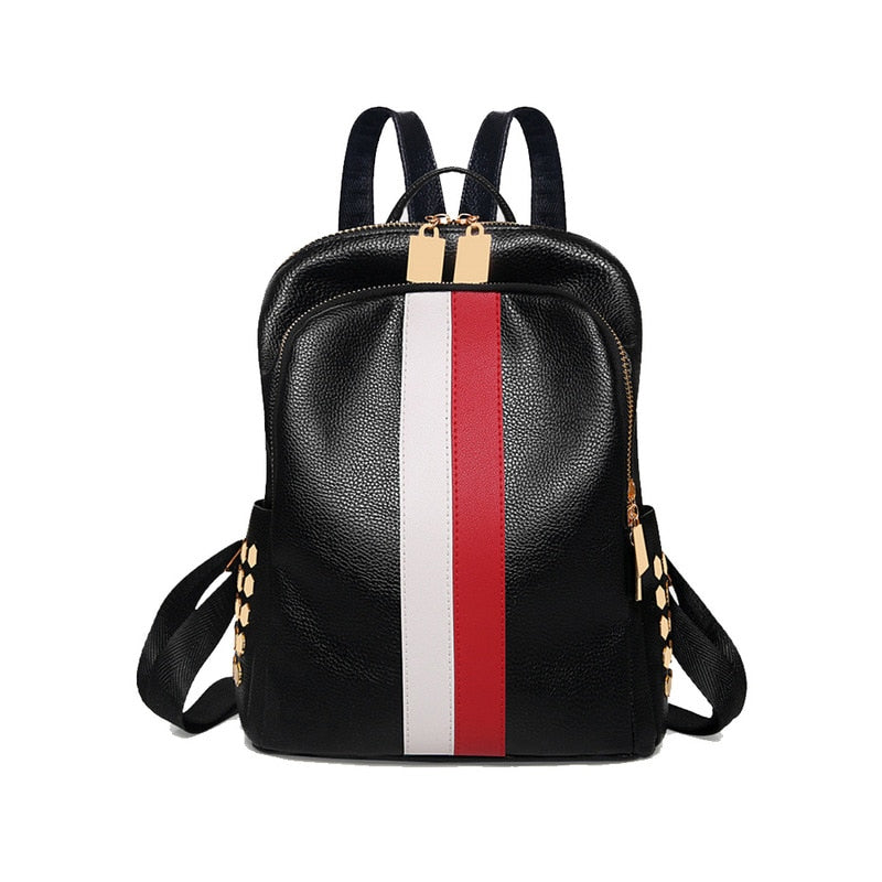 Womens High Quality Waterproof PU Leather Travel Backpack