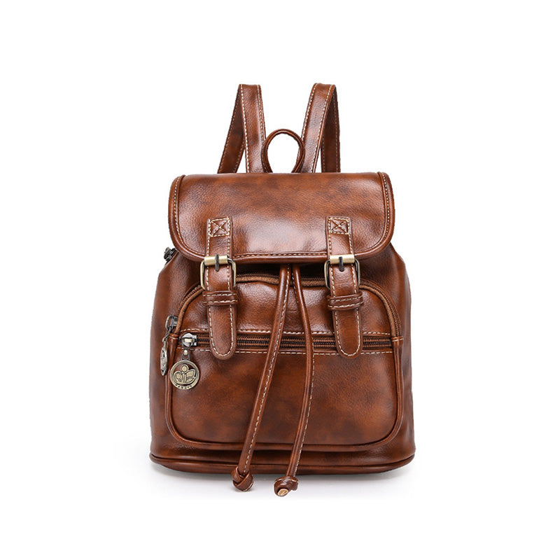 Small Vintage High-Quality Women's Mini Leather Backpack