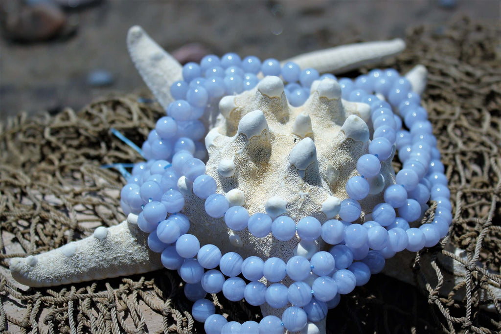Blue Lace Agate Srtone Mala Beads