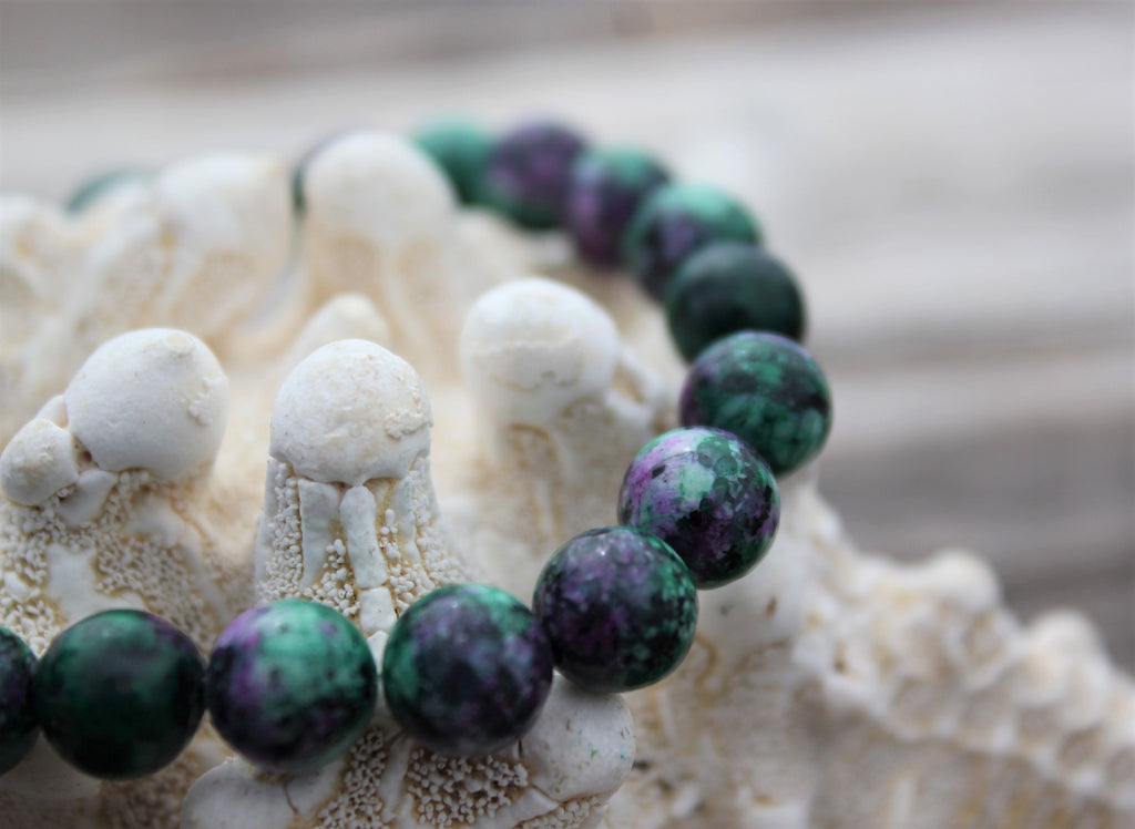 ruby inn zoisite matrix mala bead crystal grief undying love