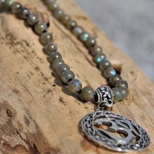 Load image into Gallery viewer, Haven Mala with 4-Petal Guru Bead and Silver Ohm pendant
