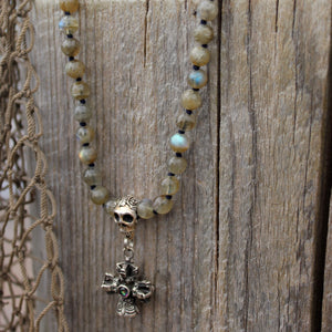 Haven mala with Skull Guru Bead and Silver Dorje detail