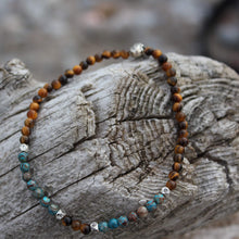 Load image into Gallery viewer, Chrysocolla and golden tiger's eye anklet
