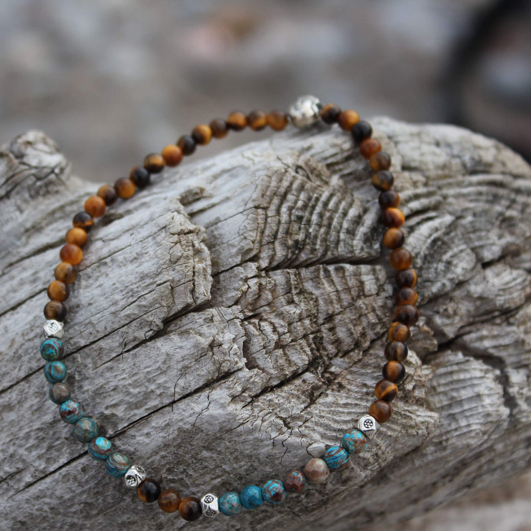 Chrysocolla and golden tiger's eye anklet