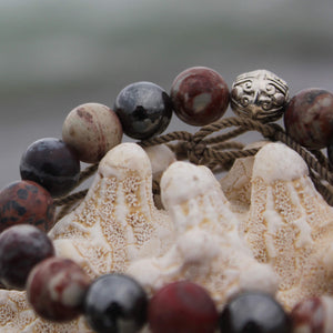 Planetary Traveller crystal wrist mala detail close up