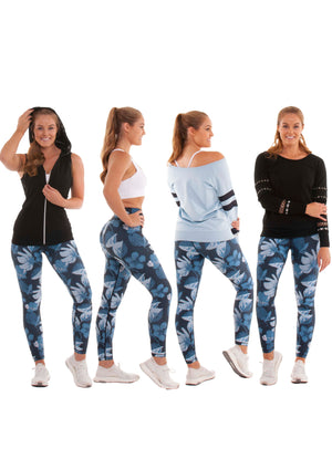 "<img src=""Akia Rose Activewear Belrose.jpg"" alt=""two side full length legging flowers and dots; mixed tops"""