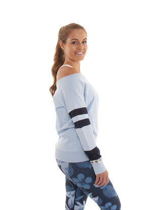 Akia Rose Activewear - Jumper - off the shoulder blue jumper with mesh panels in the sleeve
