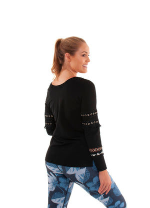 Akia Rose Activewear - Jumper - round neck black jumper with mesh panels in the sleeve