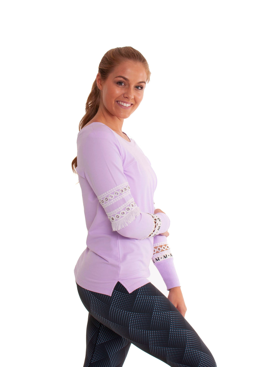 Jumper - round neck lilac jumper with mesh panels in the sleeve