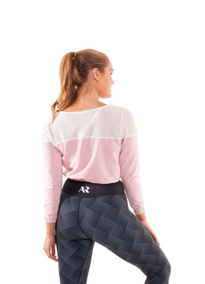 Akia Rose Activewear - Jumper -  cropped pink jumper with black mesh across the top