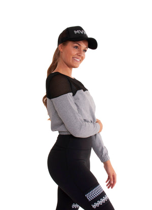 Akia Rose Activewear - Jumper -  cropped grey jumper with black mesh across the top