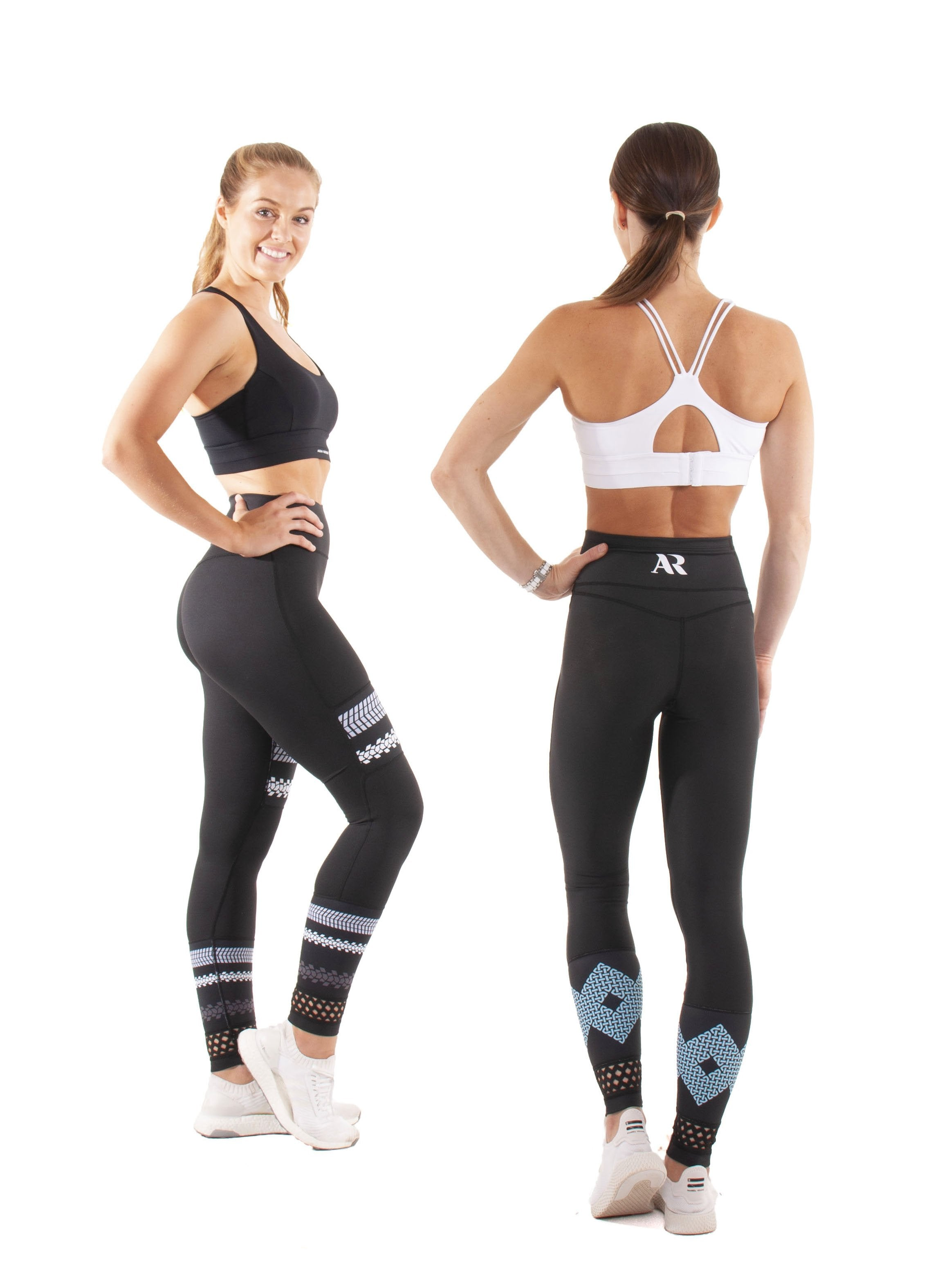 Akia Rose Activewear - Leggings - reversible printed both sides, high waist, patterned elastic at ankle