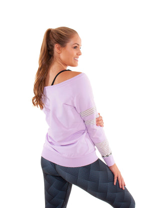 Akia Rose Activewear - Jumper - off the shoulder lilac jumper with mesh panels in the sleeve