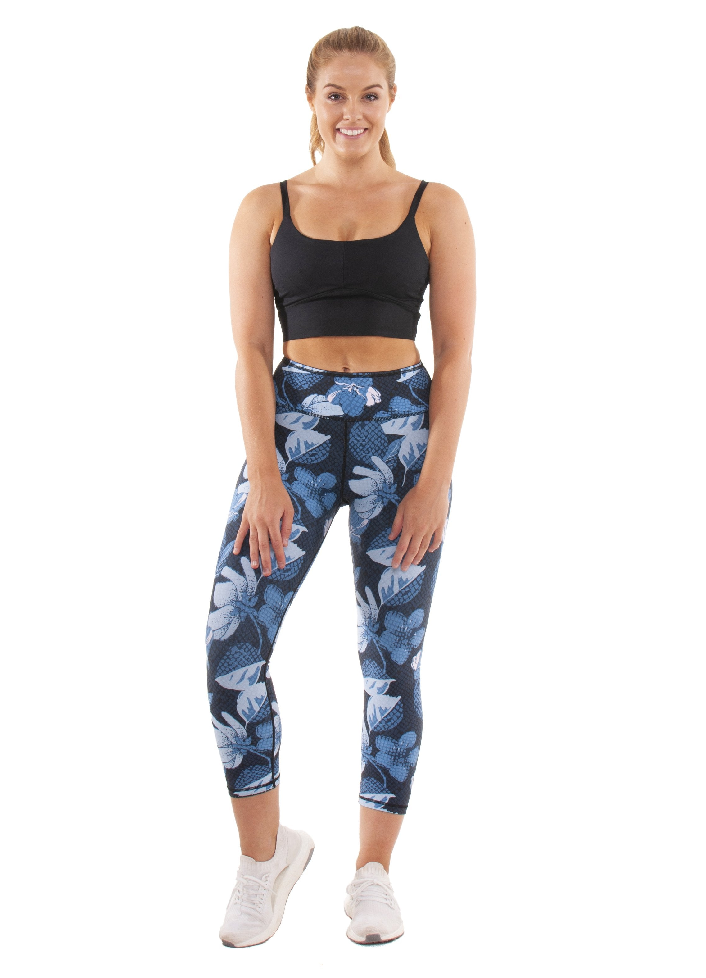 Akia Rose Activewear - 7/8 reversible legging - flower print on one side and dot print on other side