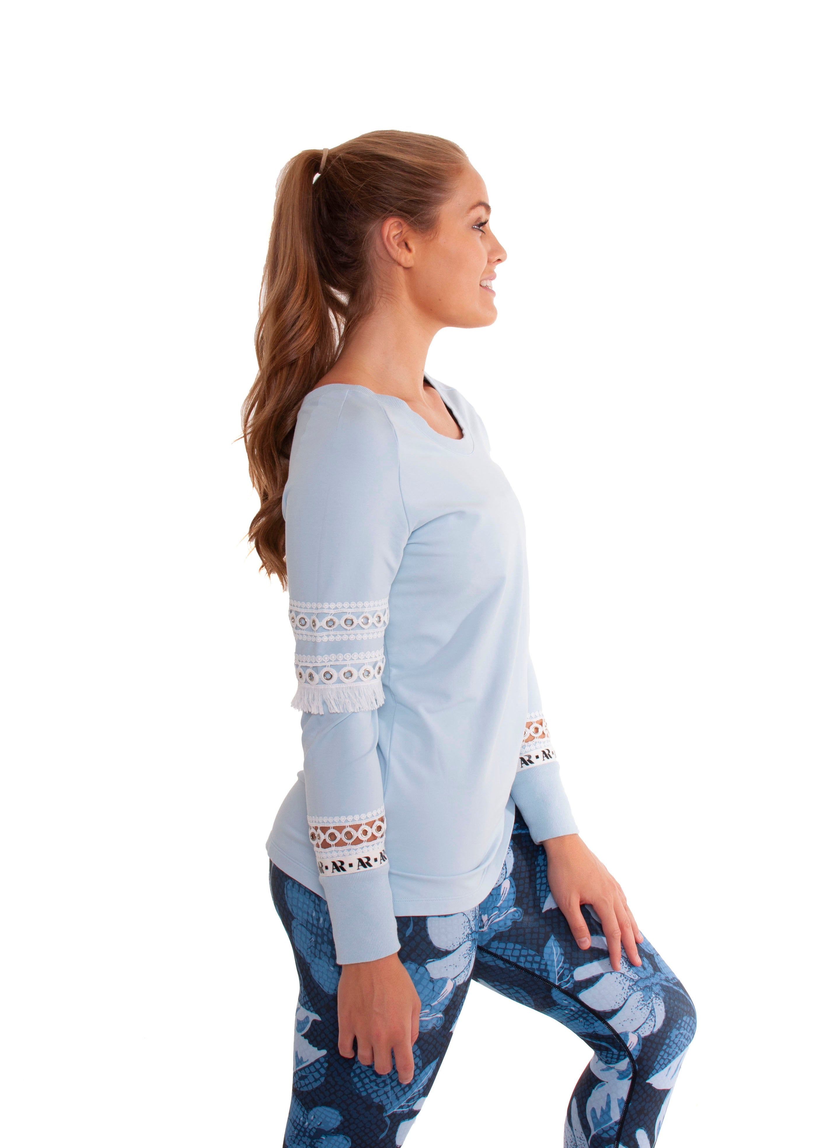 Akia Rose Activewear - Jumper - round neck blue jumper with mesh panels in the sleeve