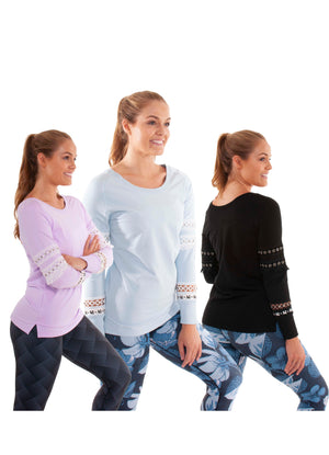 Akia Rose Activewear - Jumper - round neck blue, black or lilac jumper with mesh panels in the sleeve