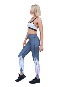 Leggings - grey legging with pale blue, and pink and white geometric print on the lower leg, high waist