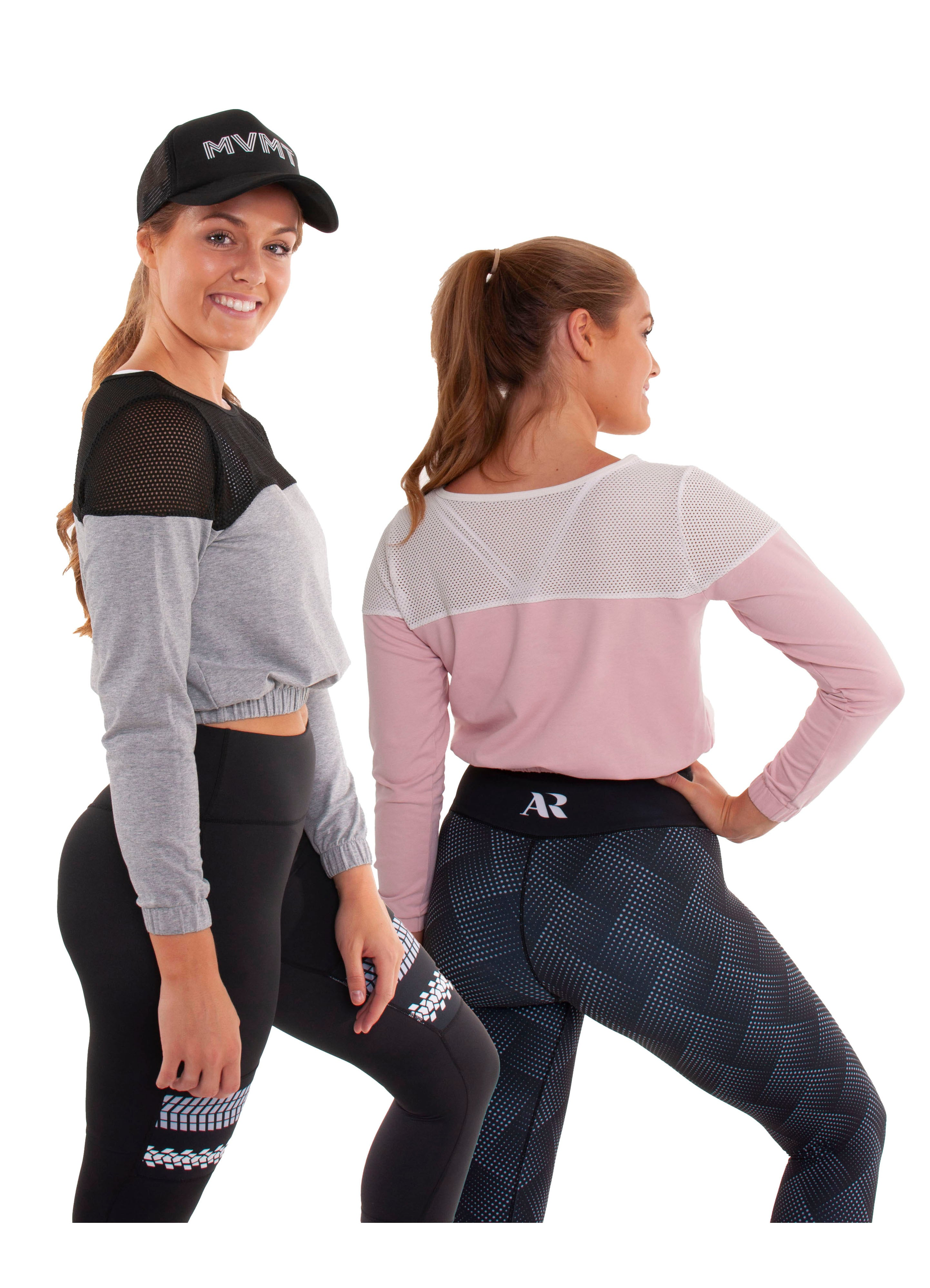 Akia Rose Activewear - Jumper -  cropped pink or grey jumper with black mesh across the top