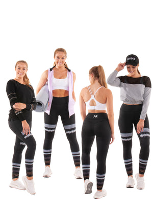 Akia Rose Activewear - Leggings - reversible printed both sides, high waist, patterned elastic at ankle; mix tops