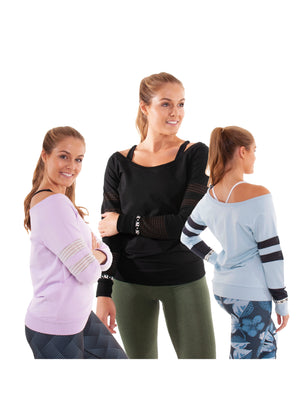 Akia Rose Activewear - Jumper - off the shoulder blue, lilac or black jumper with mesh panels in the sleeve