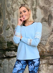 Jumper - round neck blue jumper with mesh panels in the sleeve