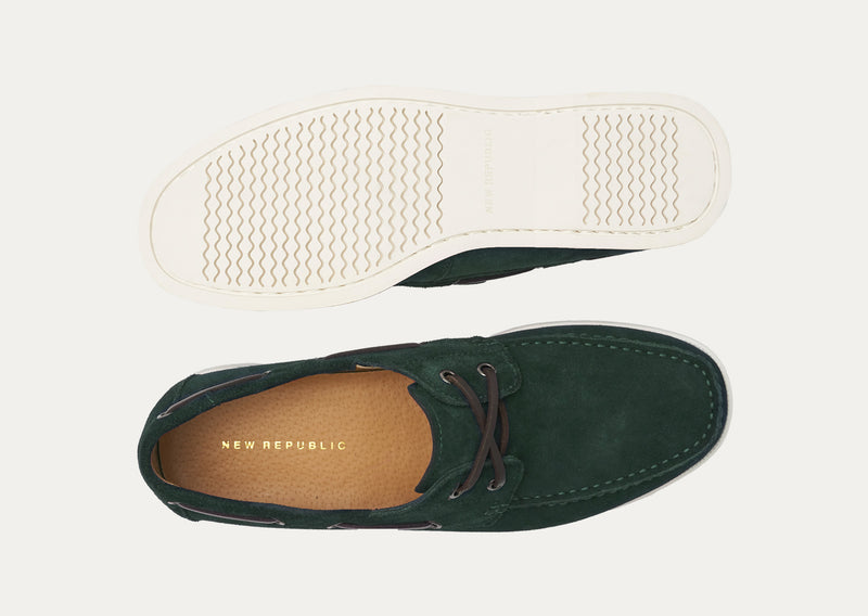 Baldwin Suede Boat Shoe - Forest Green