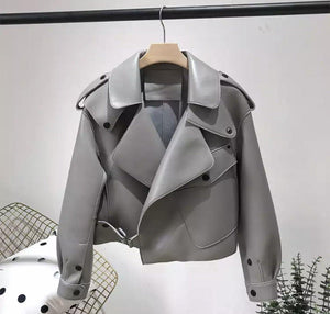 Hazel Leather Jacket Grey