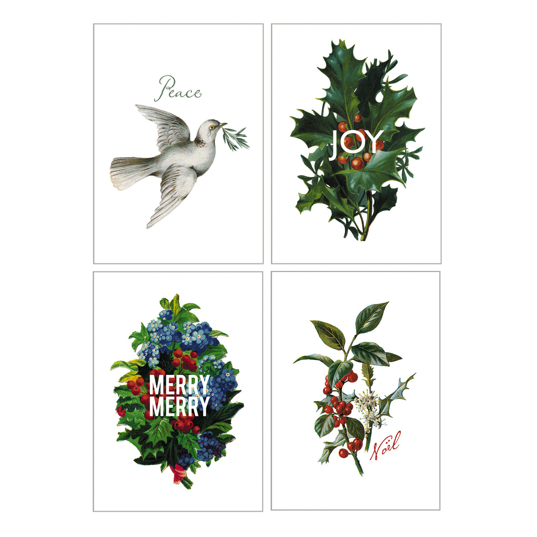 Holiday Greeting Cards - Set of 4 Different Designs
