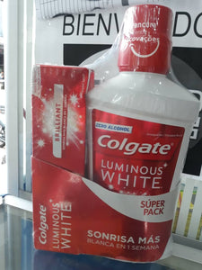 Combo Colgate Luminous White crema 75ml + Enjuague bucal  500ml