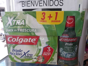 Combo Colgate Tiple acción 3 cremas 75ml C/u + Enjuague bucal 500ml
